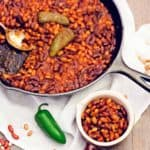 bbq baked beans, beans, bbq, recipe, vegan, vegetarian, whole food plant based, wfpb, gluten free, oil free, refined sugar free, no oil, no refined sugar, no dairy, dinner, lunch, side, side dish, dinner party, entertaining, simple, healthy, picnic