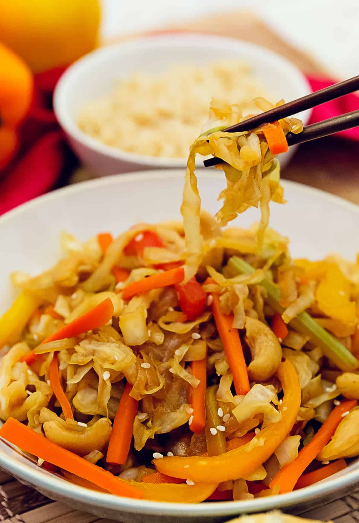 the best cashew cabbage stir fry, whole food plant based, healthy recipes, recipes, vegan, gluten free, vegetarian, no oil, refined sugar free, wholesome