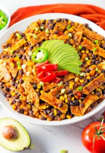 enchilada skillet, enchiladas, vegan, vegetarian, whole food plant based, gluten free, recipe, wfpb, healthy, oil free, no refined sugar, no oil, refined sugar free, lunch, dinner, easy, fast, quick, dairy free, no dairy, Mexican, Southwestern