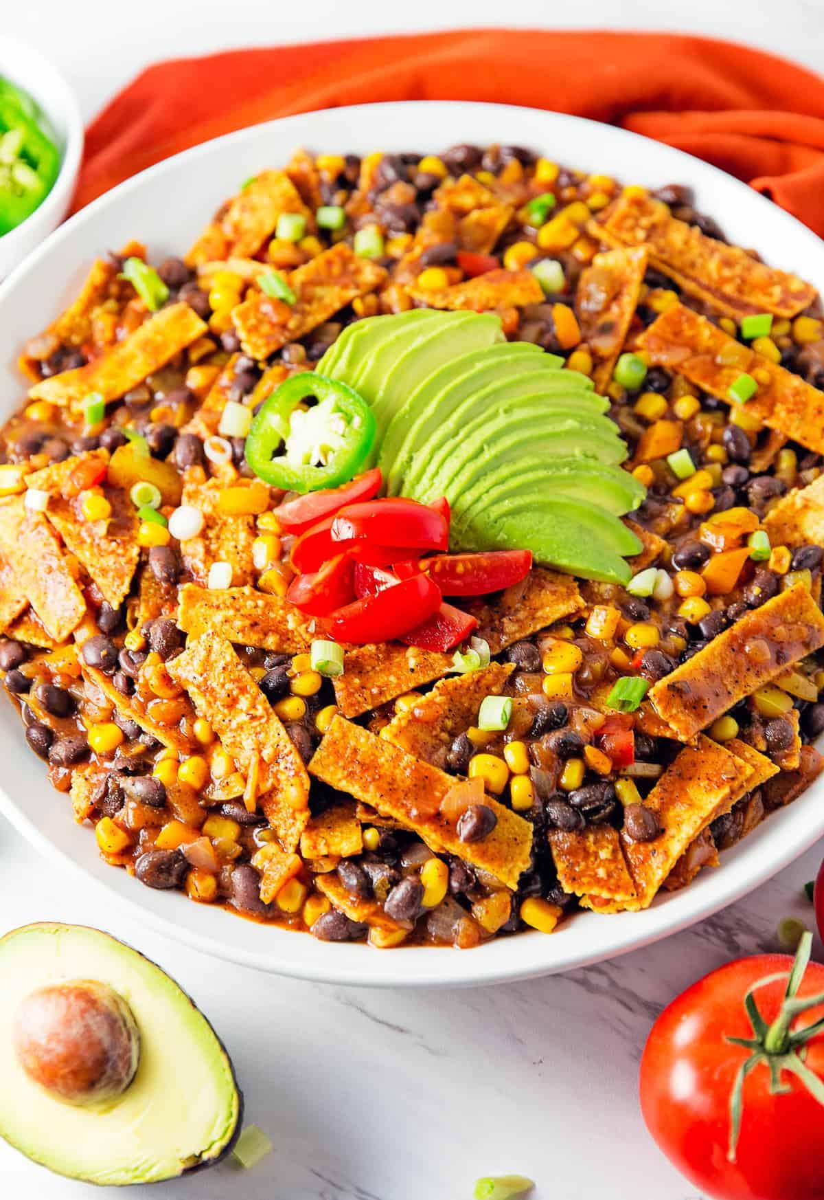 enchilada skillet, enchiladas, vegan, vegetarian, whole food plant based, gluten free, recipe, wfpb, healthy, oil free, no refined sugar, no oil, refined sugar free, lunch, dinner, easy, fast, quick, dairy free, no dairy, Mexican, Southwestern