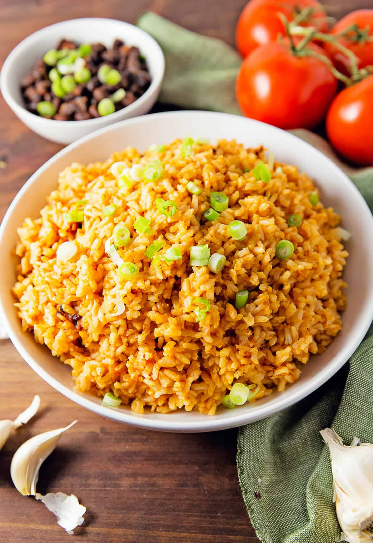 Mexican rice, rice, Mexican, rice dish, recipe, Mexican rice recipe, rice recipe, Spanish rice, Spanish, vegan, vegan recipe, whole food plant based recipe, whole food plant based, vegetarian, vegetarian recipe, gluten free, gluten free recipe, vegan dinner, vegan meals, vegetarian dinner, vegetarian meal, whole food plant based dinner, whole food plant based meal, gluten free dinner, gluten free meal, healthy, oil free, no oil, quick dinner, fast dinner, entertaining, wfpb, dairy free, no dairy, traditional, Mexican, classic, delicious, the best, winter, fall, spring, summer, fast, easy, quick, simple, 30 minutes, side, side dish,