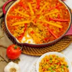 paella, recipe, vegan, vegetarian, whole food plant based, gluten free, oil free, dairy free, wfpb, dinner, lunch, rice, peppers, beans, easy, simple, healthy, no refined sugar, no oil, refined sugar free, entertaining, dinner party, Spanish