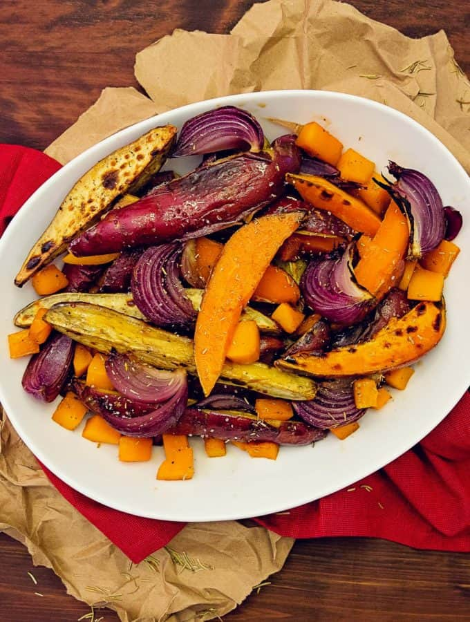 oven roasted rosemary root vegetables, root vegetables, recipe, vegan, vegetarian, whole food plant based, wfpb, gluten free, oil free, refined sugar free, no oil, no refined sugar, no dairy, dinner, lunch, side, side dish, dinner party, entertaining, simple, healthy