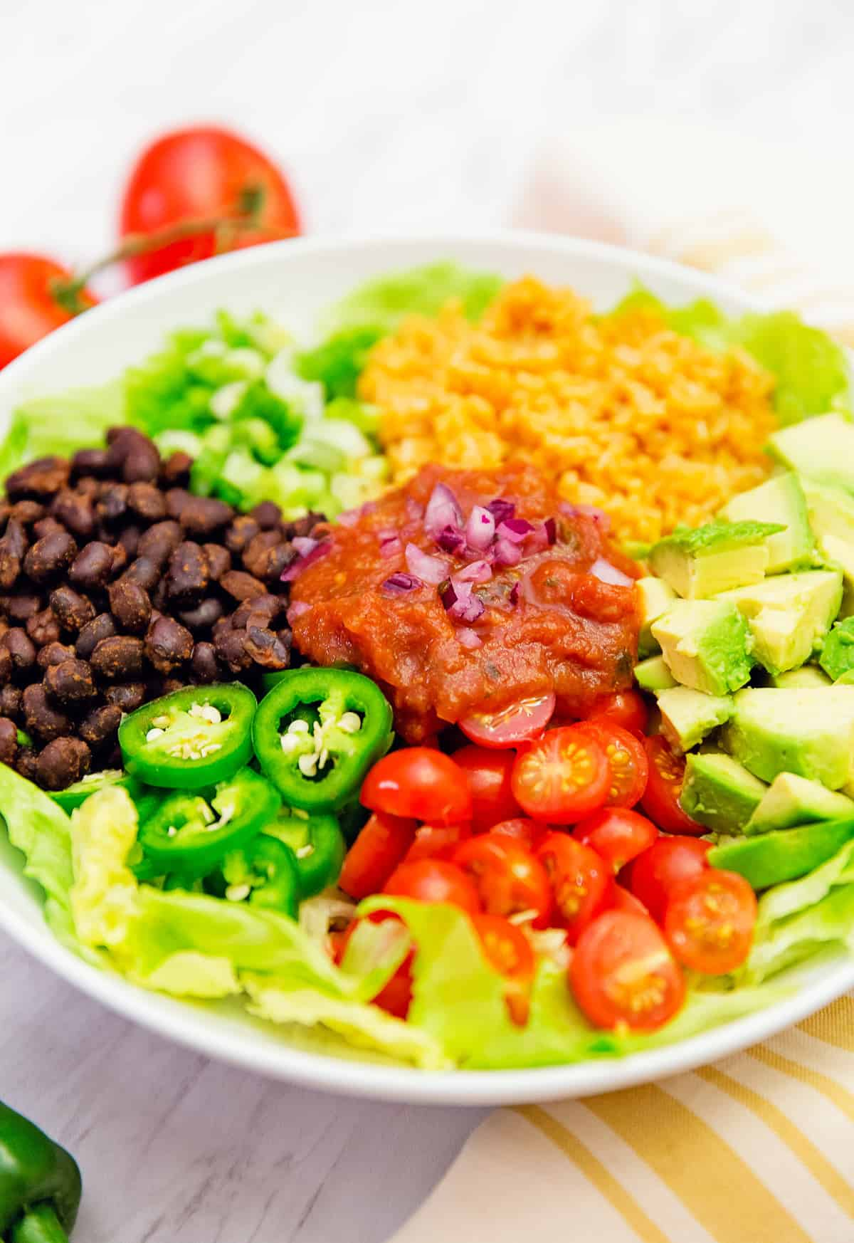Salsa veggie bowl, veggie bowl, salsa bowl, whole food plant based bowl, recipe, veggie bowl recipe, whole food plant based salad, salsa bowl recipe, vegan, vegan recipe, whole food plant based recipe, whole food plant based, vegetarian, vegetarian recipe, gluten free, gluten free recipe, vegan dinner, vegan lunch, vegan meals, vegetarian dinner, vegetarian lunch, vegetarian meal, whole food plant based dinner, whole food plant based lunch, whole food plant based meal, gluten free dinner, gluten free lunch, gluten free meal, healthy, oil free, no oil, red onions, black beans, lettuce, salad, corn, Mexican rice, Spanish rice, rice, black beans, green onions, tomatoes, jalapeño, quick dinner, avocado, salsa dressing, fast dinner, entertaining, wfpb, dairy free, no dairy, traditional, Mexican, Southwestern, classic, delicious, the best, winter, fall, spring, summer, fast, easy, quick, simple, 30 minutes,