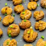 garlic smashed baby potatoes, baby potatoes, vegan, vegetarian, whole food plant based, gluten free, recipe, wfpb, healthy, oil free, no refined sugar, no oil, refined sugar free, lunch, dinner, appetizer, side dish, snack, easy, fast, quick, dairy free,