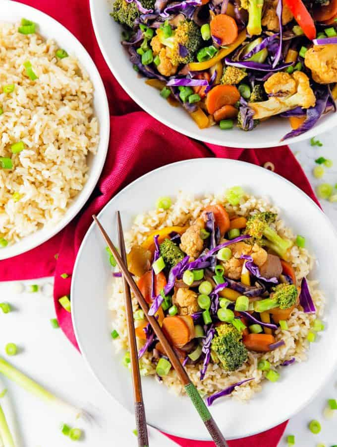Thai, stir fry, Asian, broccoli, cauliflower, carrots, rice, vegan, vegetarian, whole food plant based, gluten free, recipe, wfpb, healthy, oil free, no refined sugar, no oil, refined sugar free, lunch, dinner, side, sauce, easy, fast, quick, dinner party, entertaining,