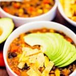 tortilla stew, soup, stew, recipe, vegan, vegetarian, whole food plant based, wfpb, gluten free, oil free, refined sugar free, no oil, no refined sugar, no dairy, dinner, lunch, appetizer, dinner party, entertaining, simple, healthy