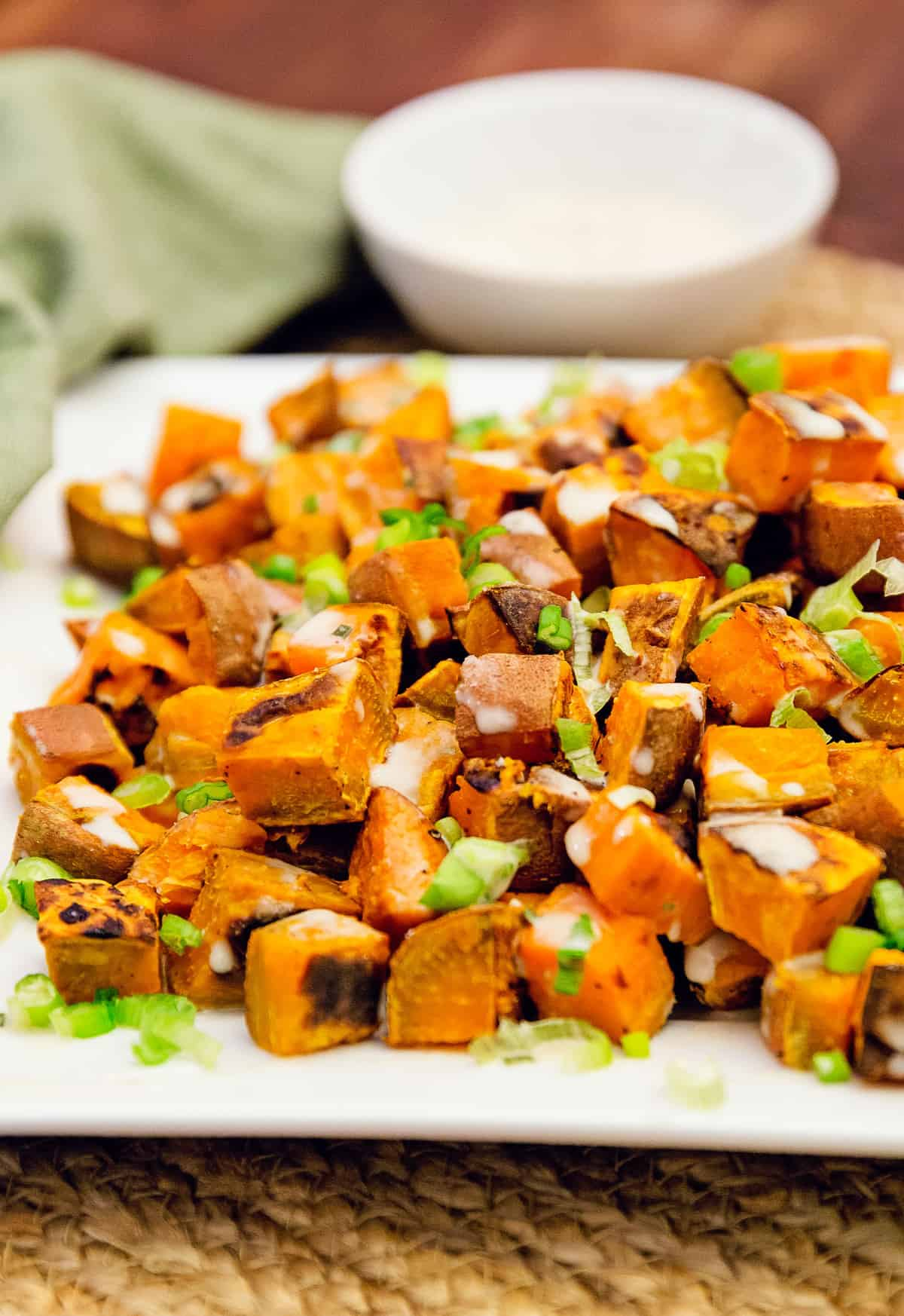 sweet potatoes with tahini sauce, sweet potatoes, vegan, vegetarian, whole food plant based, gluten free, recipe, wfpb, healthy, oil free, no refined sugar, no oil, refined sugar free, lunch, dinner, side, side dish, easy, fast, quick, dairy free,