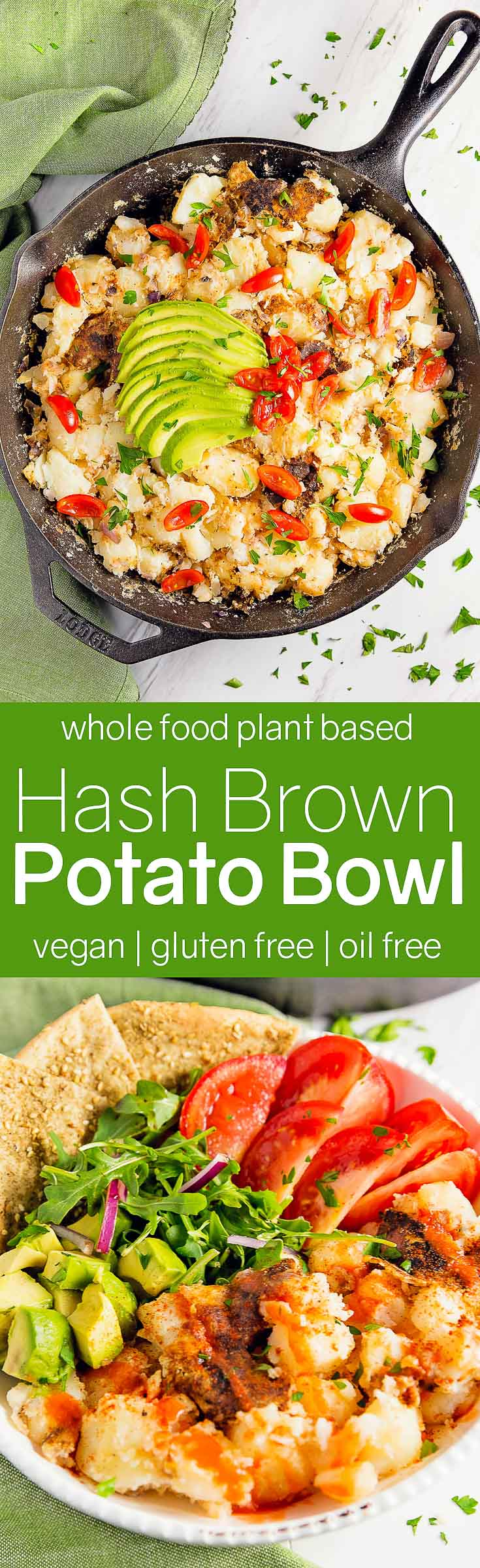 Hash Brown Potato Bowl, vegan, vegetarian, whole food plant based, gluten free, recipe, wfpb, healthy, oil free, no refined sugar, no oil, refined sugar free, dinner, side, side dish, dairy free, dinner party, entertaining