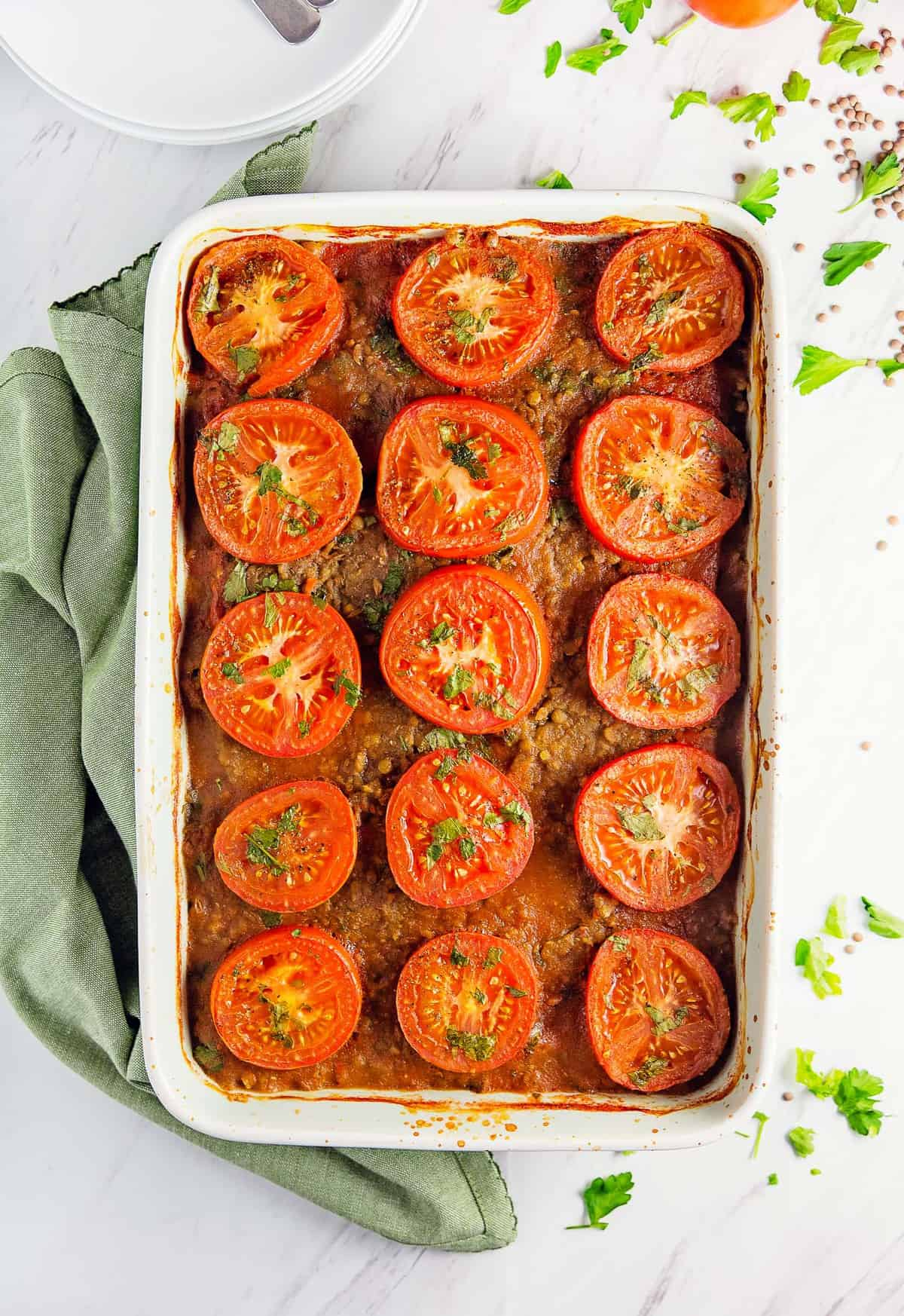 potato lentil tomato bake, vegan, vegetarian, whole food plant based, gluten free, recipe, wfpb, healthy, oil free, no refined sugar, no oil, refined sugar free, dinner, side, side dish, dairy free, entertaining, dinner party
