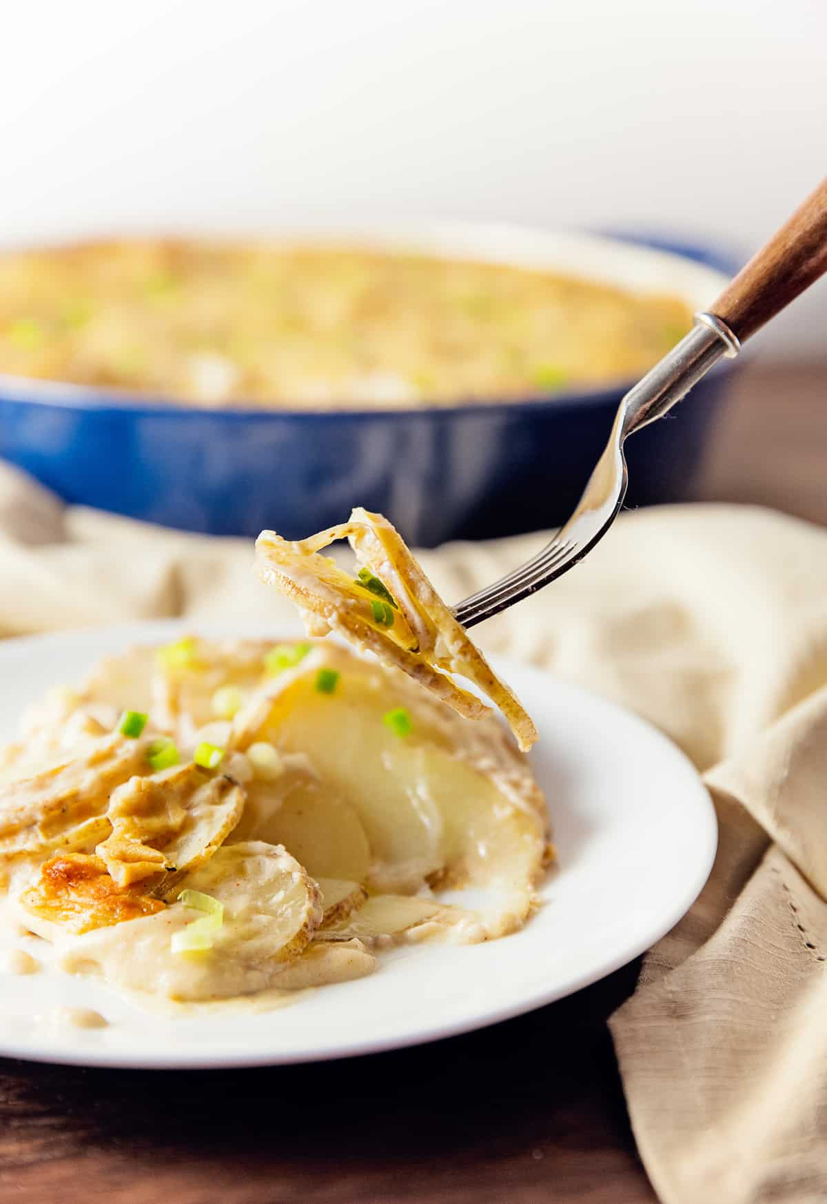 scalloped potatoes, potatoes, vegan, vegetarian, whole food plant based, gluten free, recipe, wfpb, healthy, oil free, no refined sugar, no oil, refined sugar free, dinner, side, side dish, dairy free, entertaining, dinner party