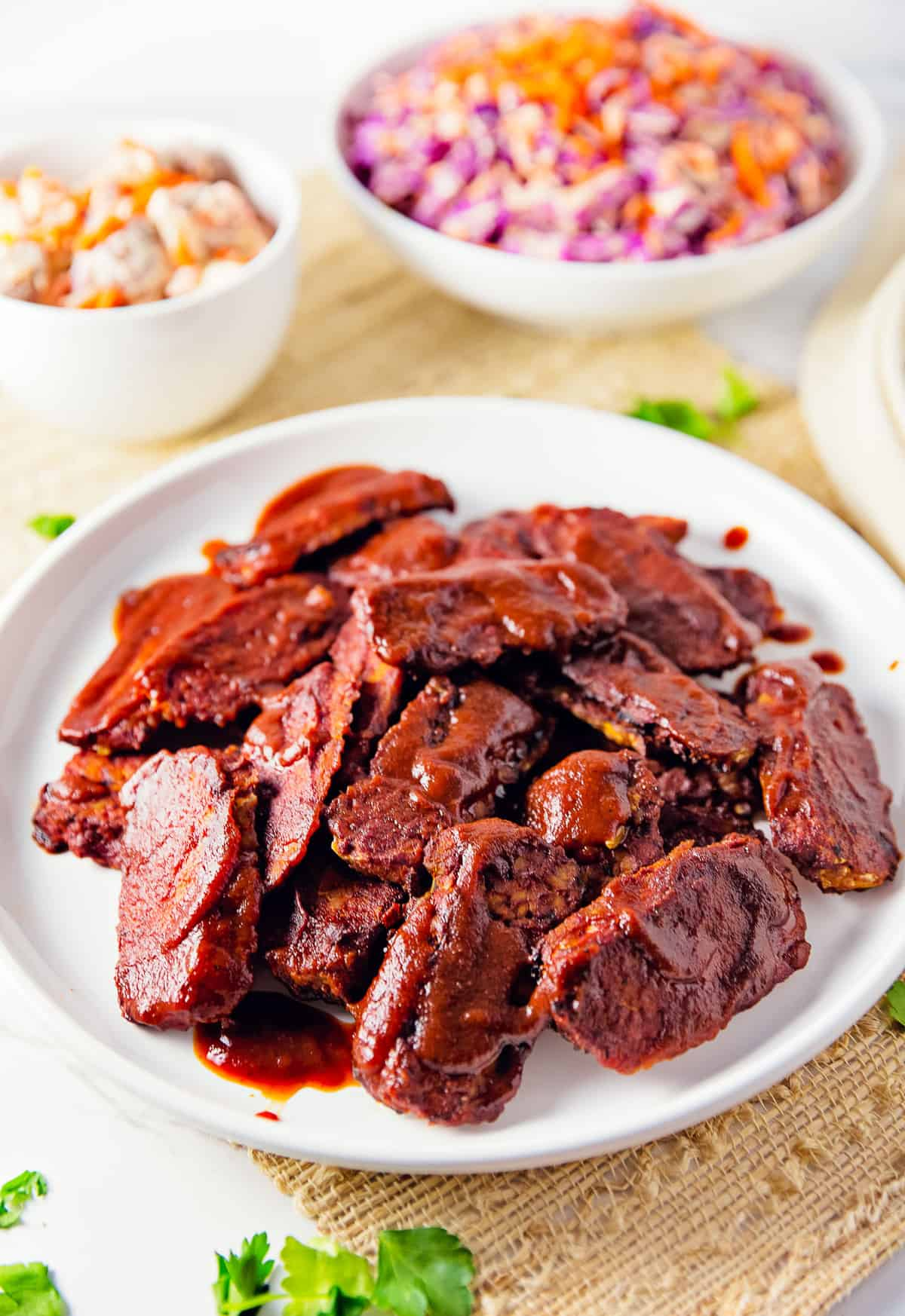 Texas Style Barbecue Tempeh, vegan, vegetarian, whole food plant based, gluten free, recipe, wfpb, healthy, oil free, no refined sugar, no oil, refined sugar free, dinner, side, side dish, dairy free, dinner party, entertaining