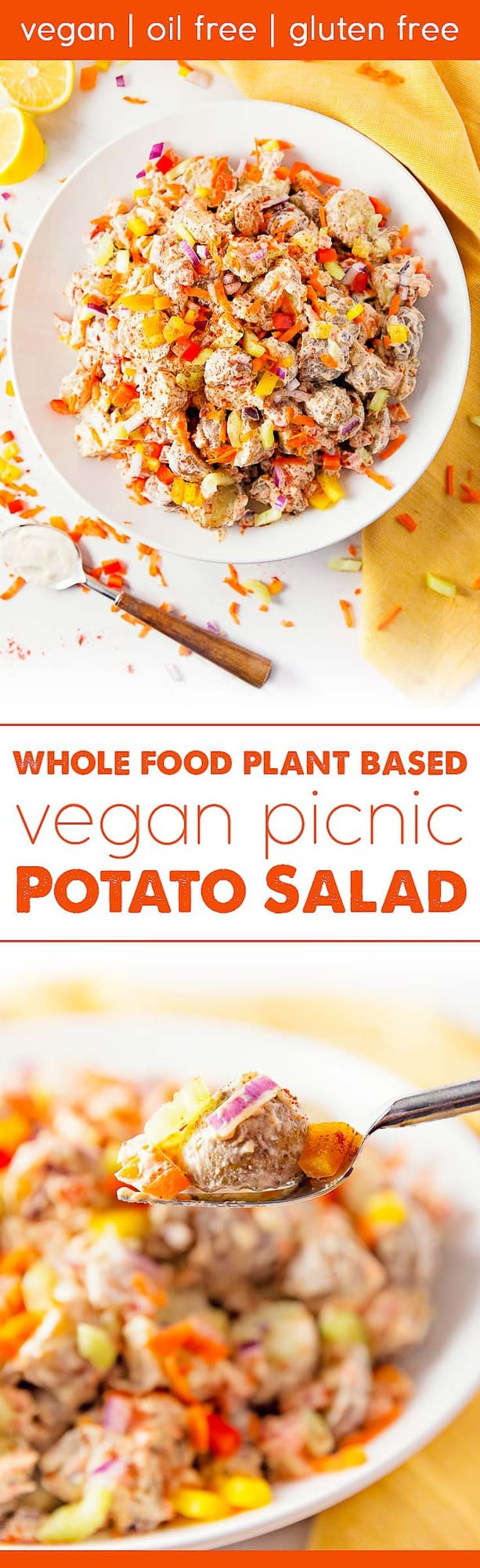 Vegan Picnic Potato Salad, vegan, vegetarian, whole food plant based, gluten free, recipe, wfpb, healthy, oil free, no refined sugar, no oil, refined sugar free, dinner, side, side dish, dairy free, dinner party, entertaining