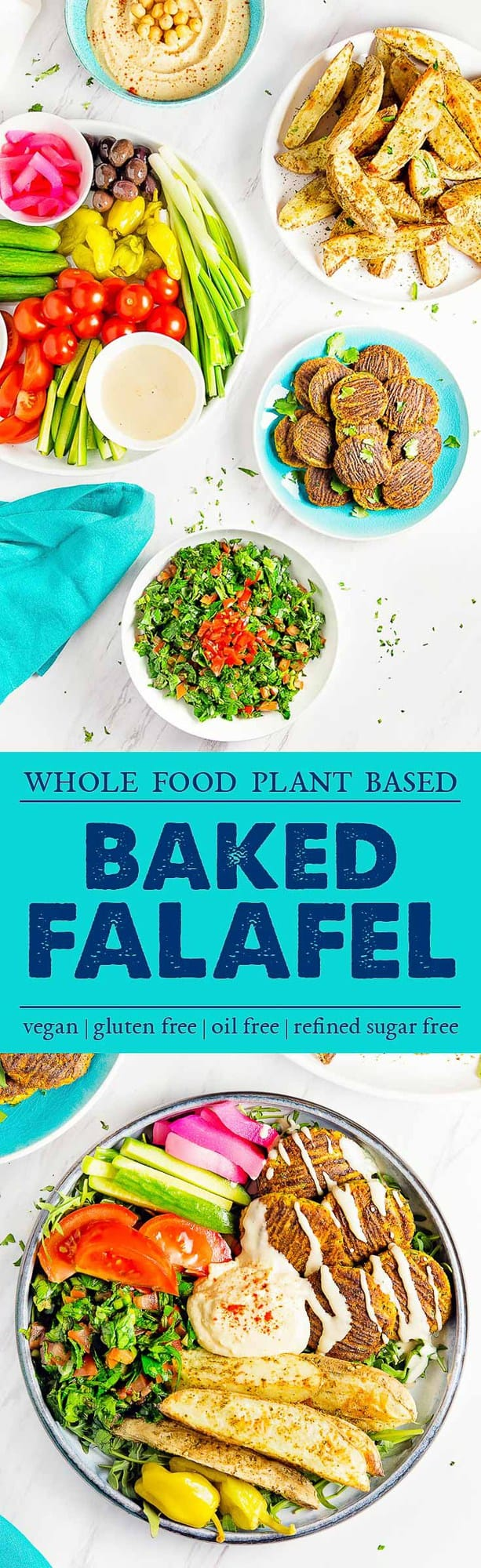 Baked Falafel, plant based, vegan, vegetarian, whole food plant based, gluten free, recipe, wfpb, healthy, healthy vegan, oil free, no refined sugar, no oil, refined sugar free, dairy free, dinner party, entertaining, dinner, falafel
