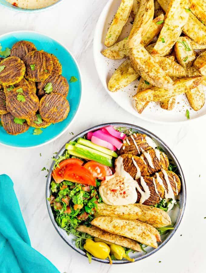 Baked Falafel, plant based, vegan, vegetarian, whole food plant based, gluten free, recipe, wfpb, healthy, healthy vegan, oil free, no refined sugar, no oil, refined sugar free, dairy free, dinner party, entertaining, dinner, falafel