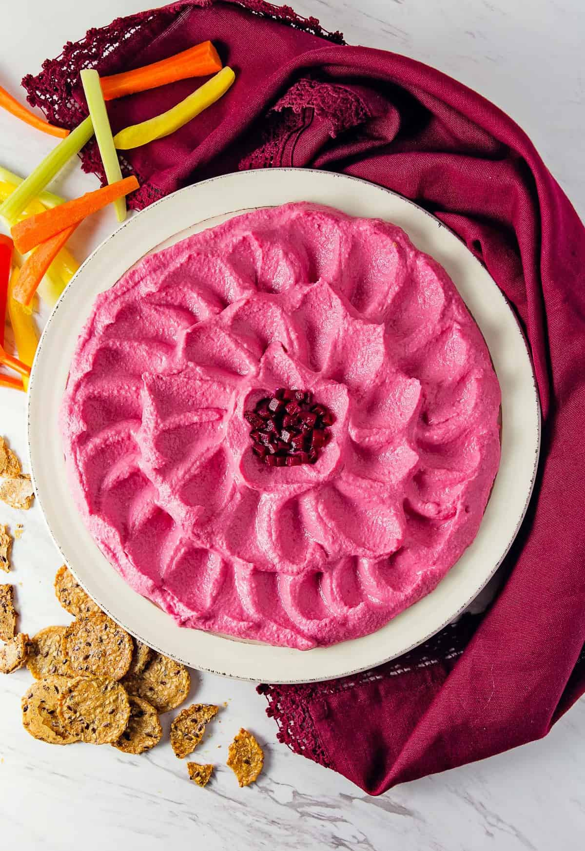 Beet Hummus, vegan, vegetarian, whole food plant based, gluten free, recipe, wfpb, healthy, oil free, no refined sugar, no oil, refined sugar free, dinner, side, side dish, dairy free, dinner party, entertaining