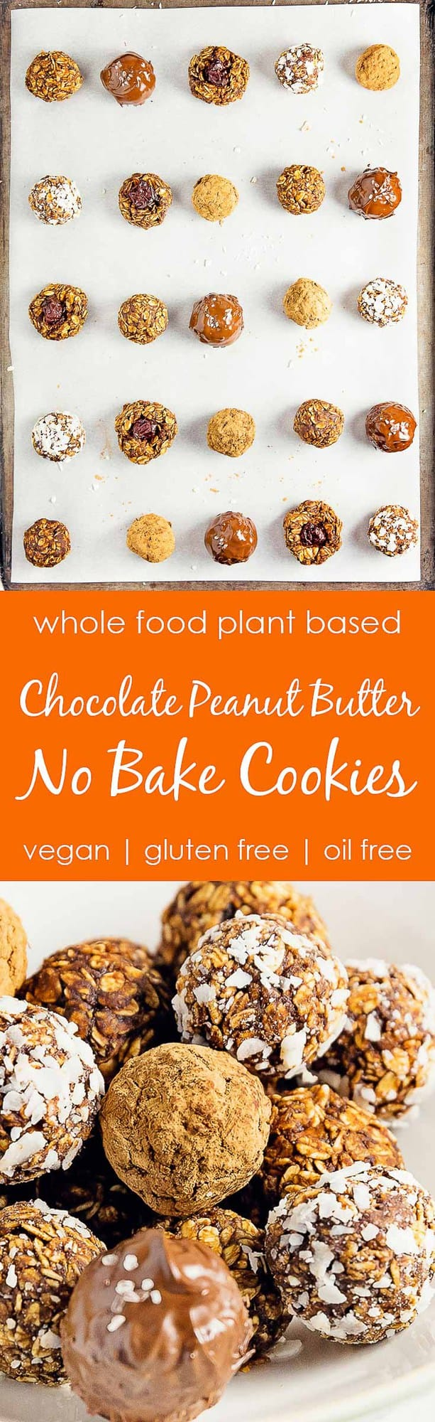 Chocolate Peanut Butter No Bake Cookies, plant based, vegan, vegetarian, whole food plant based, gluten free, recipe, wfpb, healthy, healthy vegan, oil free, no refined sugar, no oil, refined sugar free, dairy free, dinner party, entertaining, dessert, chocolate, peanut butter, no bake cookies
