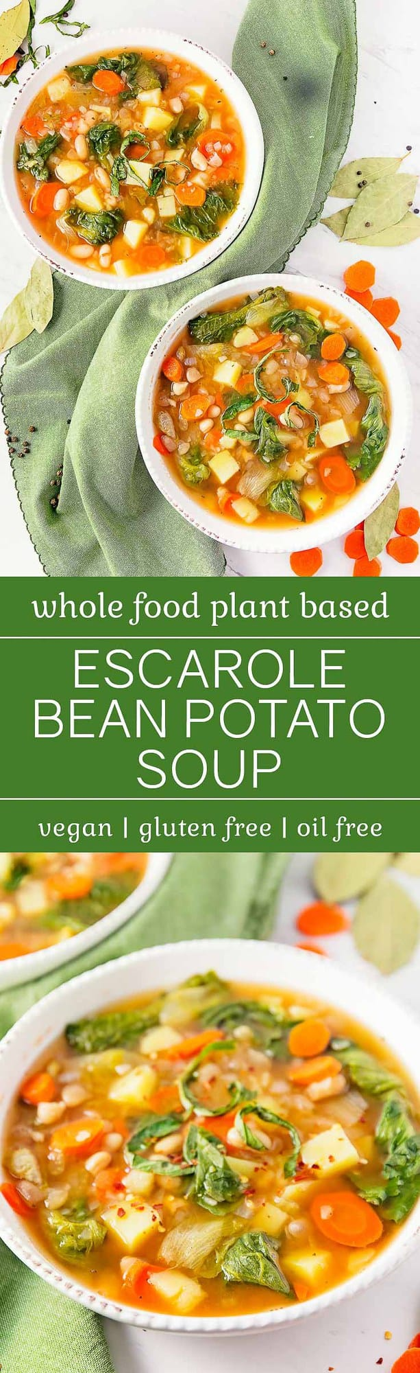 Escarole Bean Potato Soup, plant based, vegan, vegetarian, whole food plant based, gluten free, recipe, wfpb, healthy, healthy vegan, oil free, no refined sugar, no oil, refined sugar free, dairy free, dinner party, entertaining, soup