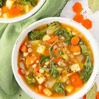 Escarole Bean Potato Soup, plant based, vegan, vegetarian, whole food plant based, gluten free, recipe, wfpb, healthy, healthy vegan, oil free, no refined sugar, no oil, refined sugar free, dairy free, dinner party, entertaining, soup