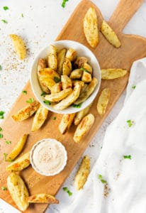 Oven Baked Zaatar Fries, plant based, vegan, vegetarian, whole food plant based, gluten free, recipe, wfpb, healthy, healthy vegan, oil free, no refined sugar, no oil, refined sugar free, dairy free, dinner party, entertaining, side, fries