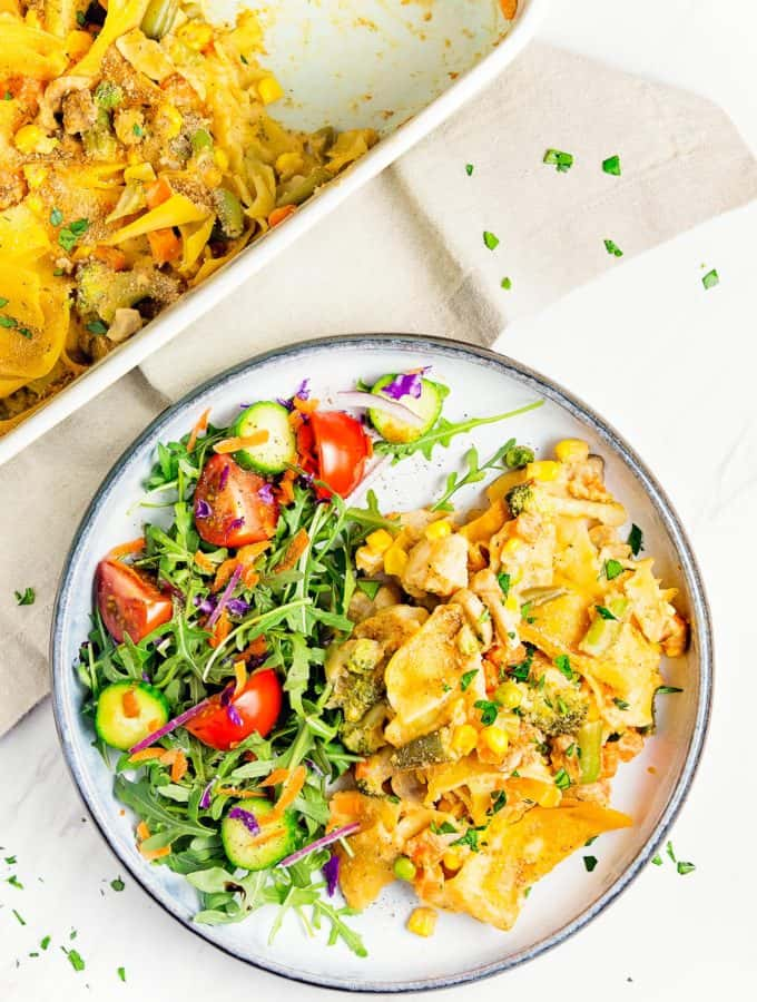 Vegan Tuna Noodle Casserole, vegan, vegetarian, whole food plant based, gluten free, recipe, wfpb, healthy, oil free, no refined sugar, no oil, refined sugar free, dinner, side, side dish, dairy free, dinner party, entertaining