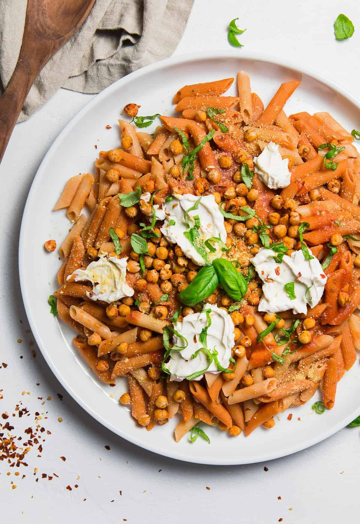 Easy Basil Pasta Sauce Topped with Roasted Chickpeas, plant based, vegan, vegetarian, whole food plant based, gluten free, recipe, wfpb, healthy, healthy vegan, oil free, no refined sugar, no oil, refined sugar free, dairy free, dinner party, entertaining, dinner, pasta