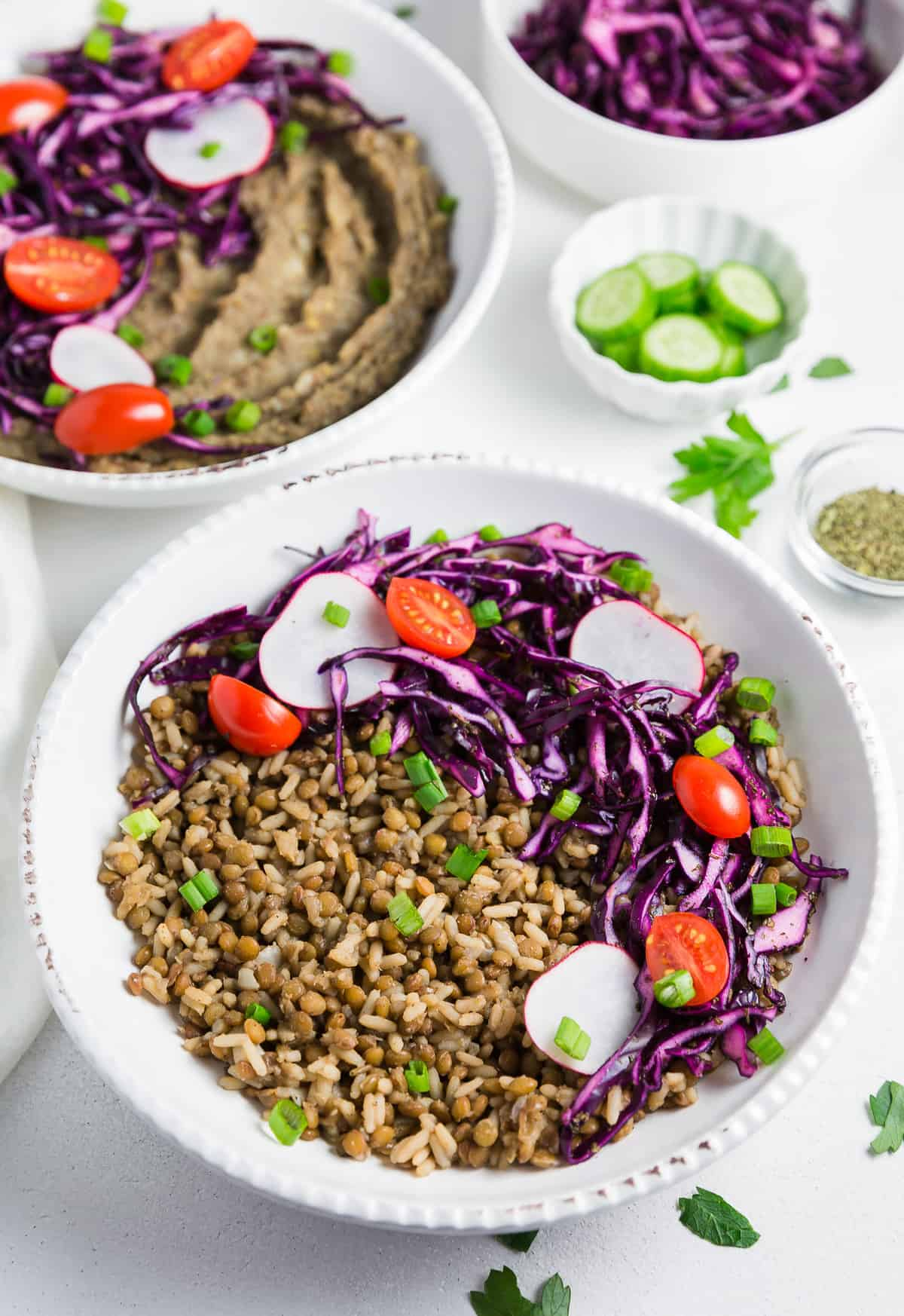 Mjedra Lebanese Lentils and Rice, plant based, vegan, vegetarian, whole food plant based, gluten free, recipe, wfpb, healthy, healthy vegan, oil free, no refined sugar, no oil, refined sugar free, dairy free, dinner party, entertaining, dinner