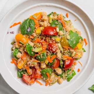 Simple Veggie Quinoa Salad, plant based, vegan, vegetarian, whole food plant based, gluten free, recipe, wfpb, healthy, healthy vegan, oil free, no refined sugar, no oil, refined sugar free, dairy free, dinner party, entertaining, salad, side, lunch, dinner