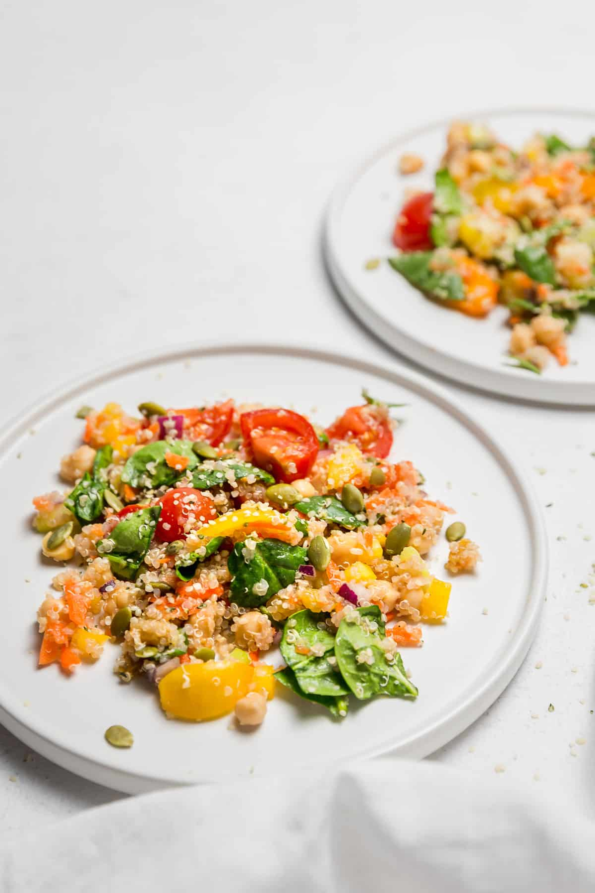 Simple Veggie Quinoa Salad, plant based, vegan, vegetarian, whole food plant based, gluten free, recipe, wfpb, healthy, healthy vegan, oil free, no refined sugar, no oil, refined sugar free, dairy free, dinner party, entertaining, salad, side, lunch, dinner