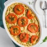 Spaghetti Pie, plant based, vegan, vegetarian, whole food plant based, gluten free, recipe, wfpb, healthy, healthy vegan, oil free, no refined sugar, no oil, refined sugar free, dairy free, dinner party, entertaining, dinner, lunch, pasta