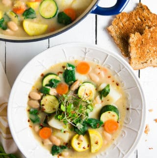 Tarragon Tuscan Soup, plant based, vegan, vegetarian, whole food plant based, gluten free, recipe, wfpb, healthy, healthy vegan, oil free, no refined sugar, no oil, refined sugar free, dairy free, dinner party, entertaining, soup,