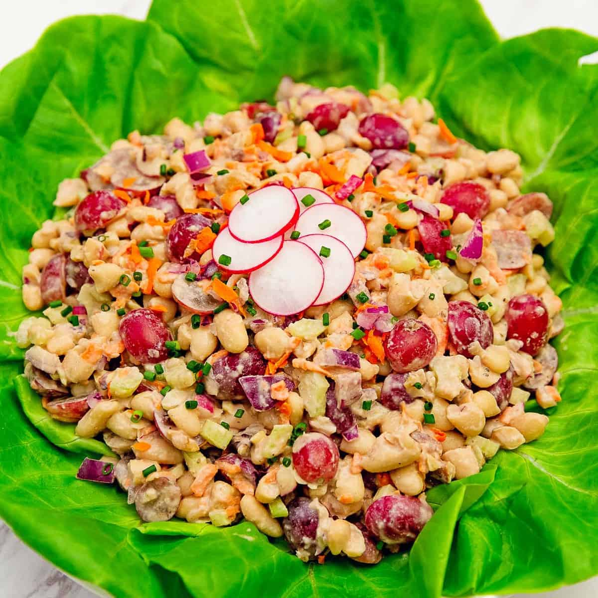 Waldorf salad, salad, white beans, grapes, walnuts, tahini, vegan, vegetarian, whole food plant based, gluten free, recipe, wfpb, healthy, oil free, no refined sugar, no oil, refined sugar free, lunch, dinner, side, sauce, easy, fast, quick, dinner party, entertaining, picnic, fun salad, lettuce cups, lettuce wraps, dinner party, holiday, special, Thanksgiving salad, Christmas salad