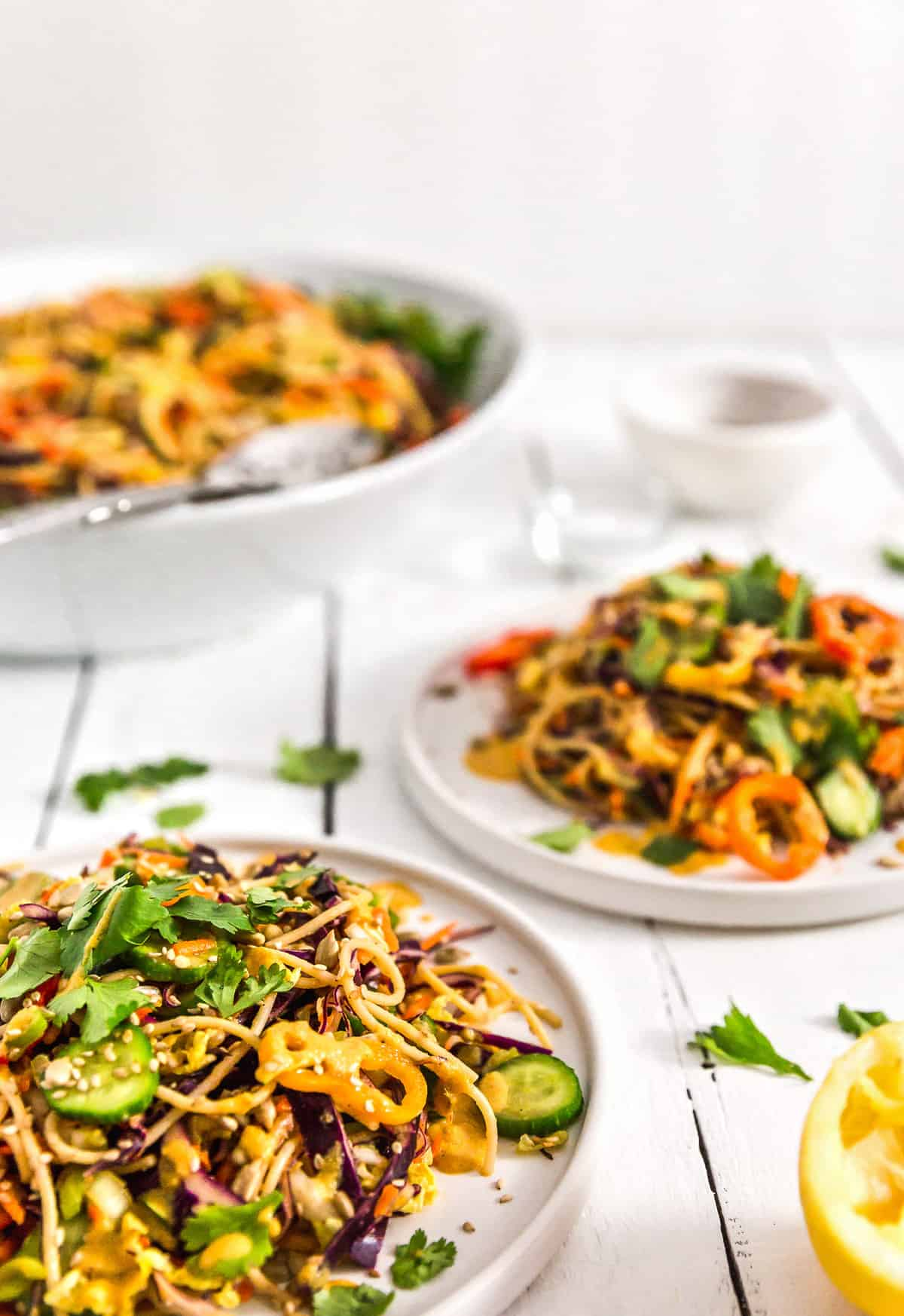 Asian Noodle Salad, noodle salad, plant based, vegan, vegetarian, whole food plant based, gluten free, recipe, wfpb, healthy, healthy vegan, oil free, no refined sugar, no oil, refined sugar free, dairy free, salad, noodles, pasta