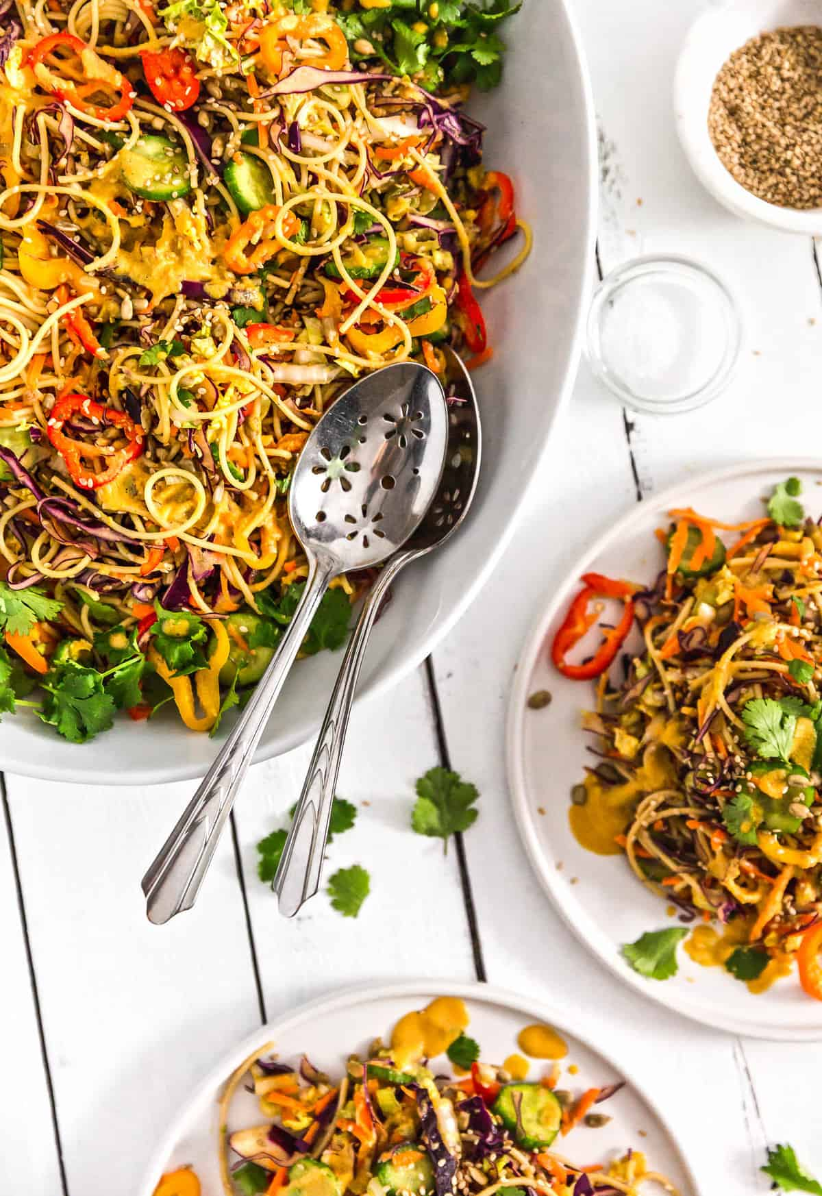 Asian Noodle Salad, noodle salad, plant based, vegan, vegetarian, whole food plant based, gluten free, recipe, wfpb, healthy, healthy vegan, oil free, no refined sugar, no oil, refined sugar free, dairy free, salad, noodles, pasta