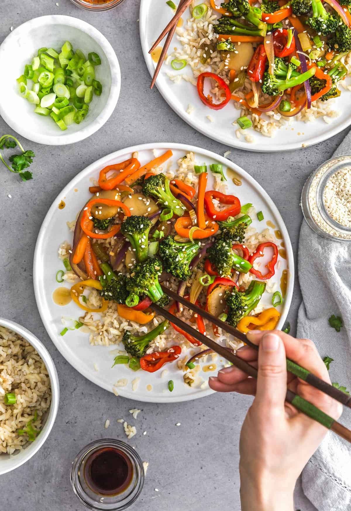 Asian Veggie Stir Fry, plant based, vegan, vegetarian, whole food plant based, gluten free, recipe, wfpb, healthy, healthy vegan, oil free, no refined sugar, no oil, refined sugar free, dairy free, veggies, vegetables, stir fry, dinner, rice, Asian recipes