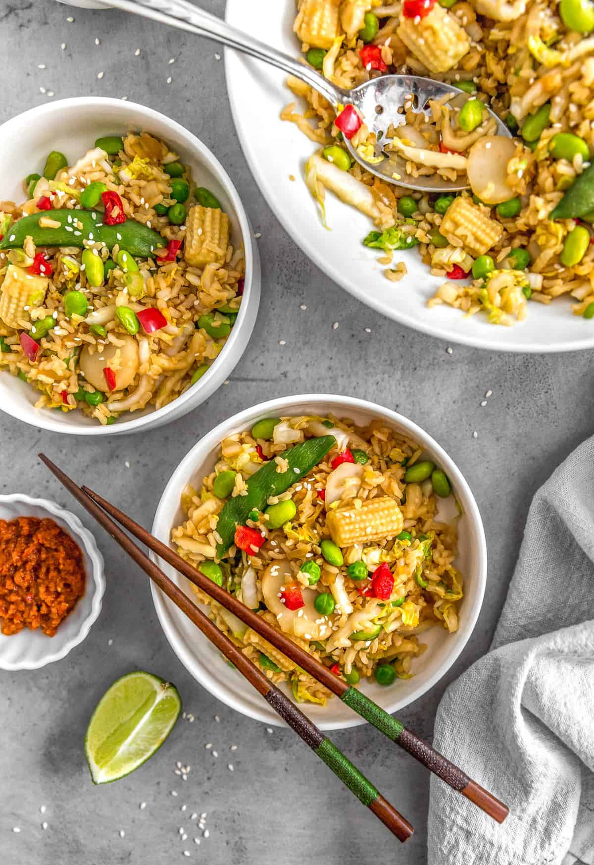 Cabbage Fried Rice, plant based, vegan, vegetarian, whole food plant based, gluten free, recipe, wfpb, healthy, healthy vegan, oil free, no refined sugar, no oil, refined sugar free, dairy free, veggies, vegetables, fried rice, dinner, rice, Asian recipes, cabbage