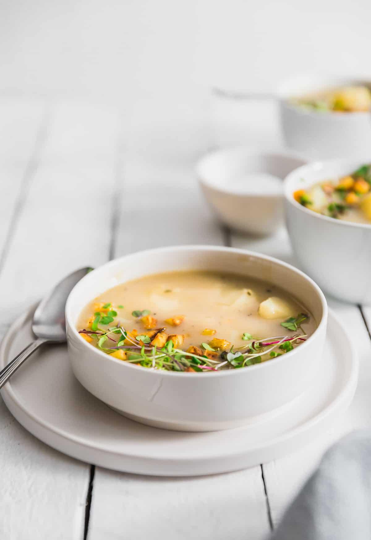 Creamy Potato Soup, plant based, vegan, vegetarian, whole food plant based, gluten free, recipe, wfpb, healthy, healthy vegan, oil free, no refined sugar, no oil, refined sugar free, dairy free, soup, potatoes