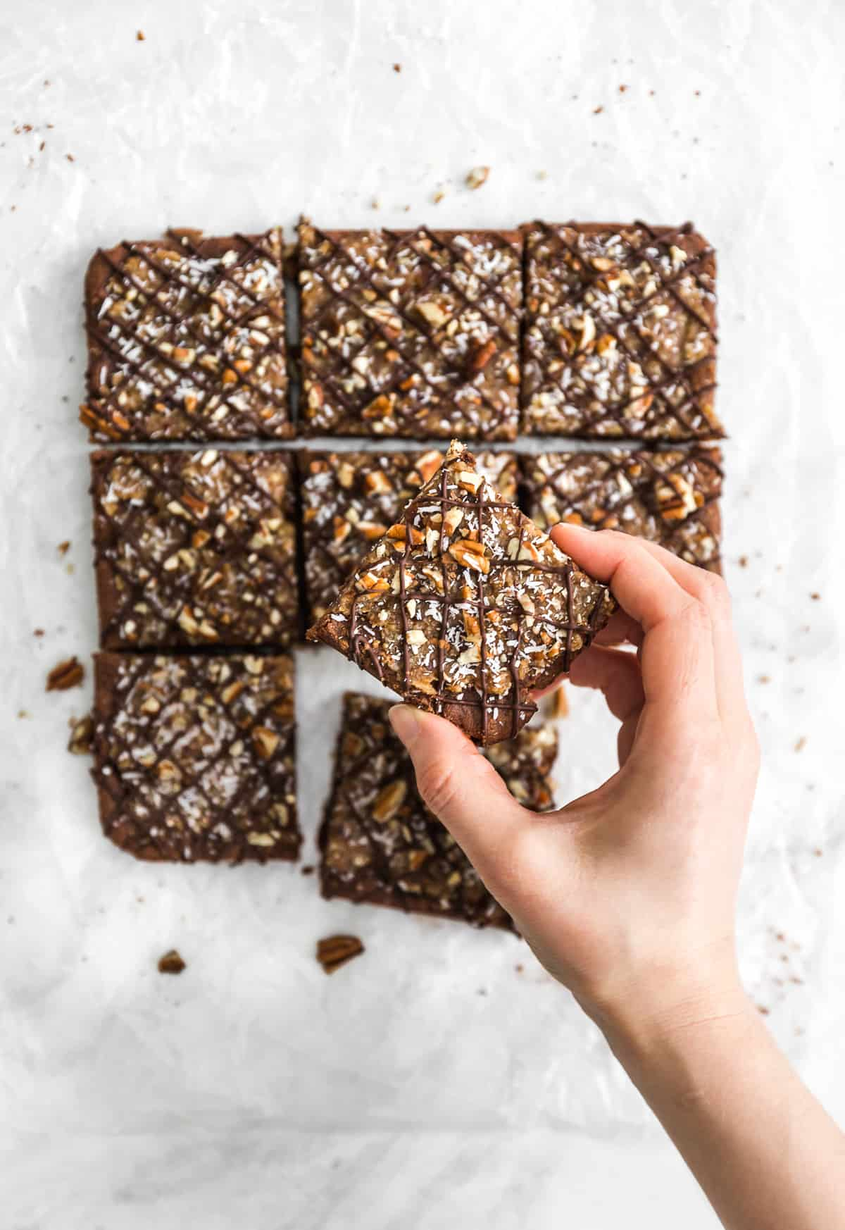German Chocolate Bars, German Chocolate cake, plant based, vegan, vegetarian, whole food plant based, gluten free, recipe, wfpb, healthy, healthy vegan, oil free, no refined sugar, no oil, refined sugar free, dairy free, chocolate, coconut, brownies, bars, treats, sweets, desserts