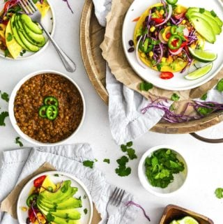 Instant Pot Lentil Tacos, plant based, vegan, vegetarian, whole food plant based, gluten free, recipe, wfpb, healthy, healthy vegan, oil free, no refined sugar, no oil, refined sugar free, dairy free, lentils, tacos, dinner, Instant Pot