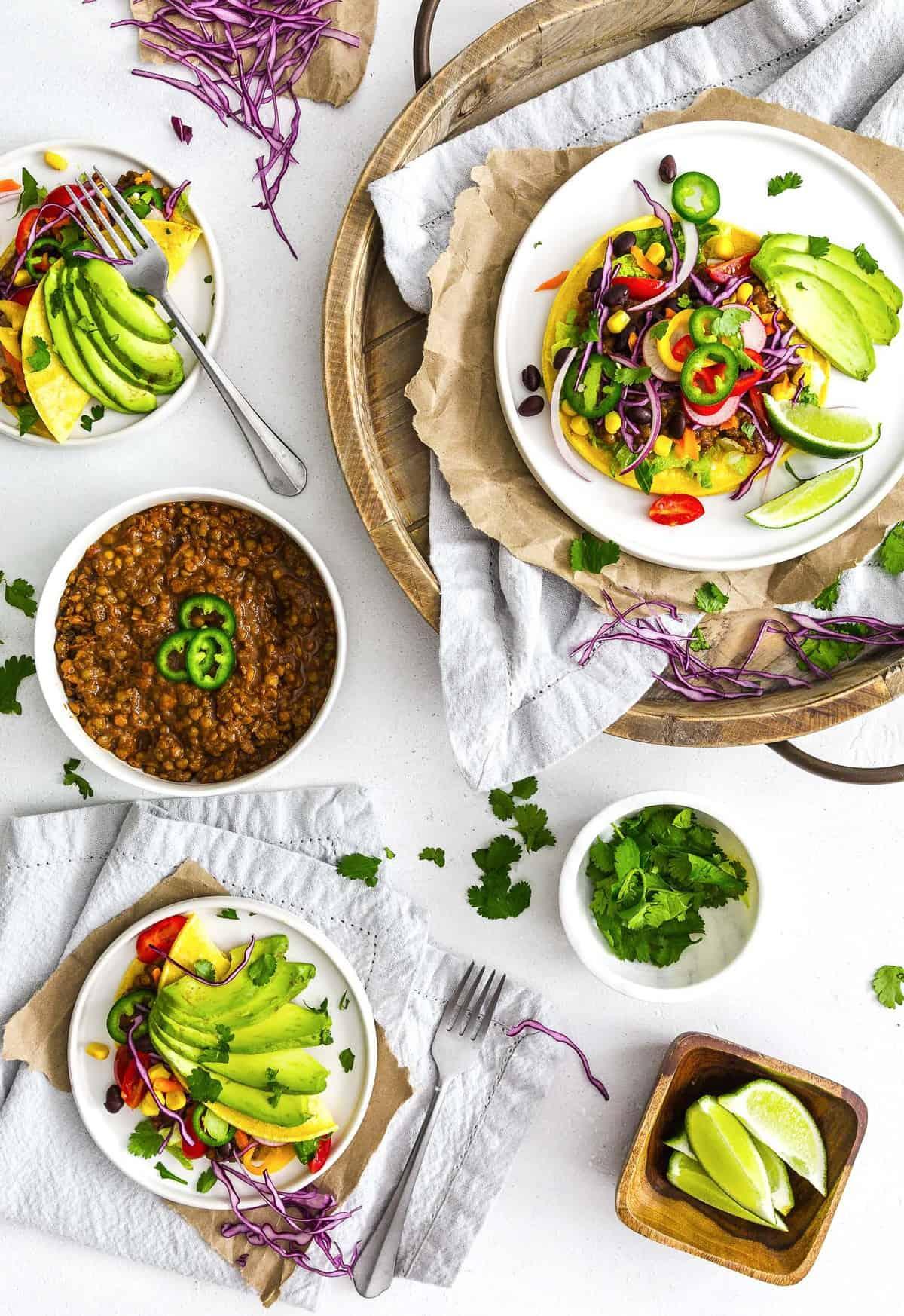Instant Pot Lentil Tacos, plant based, vegan, vegetarian, whole food plant based, gluten free, recipe, wfpb, healthy, healthy vegan, oil free, no refined sugar, no oil, refined sugar free, dairy free, lentils, tacos, dinner, Instant Pot