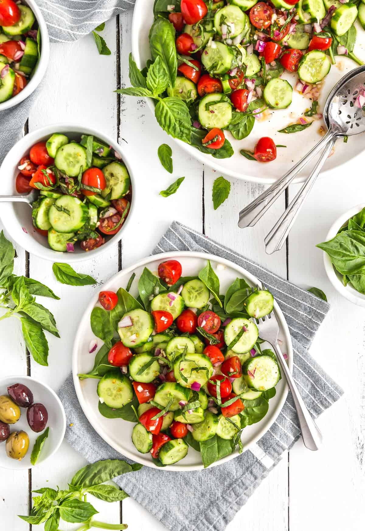 Cucumber Tomato Salad, cucumbers, tomato, salad, plant based, vegan, vegetarian, whole food plant based, gluten free, recipe, wfpb, healthy, healthy vegan, oil free, no refined sugar, no oil, refined sugar free, dairy free, appetizer, starter, snack, dinner, lunch, veggies