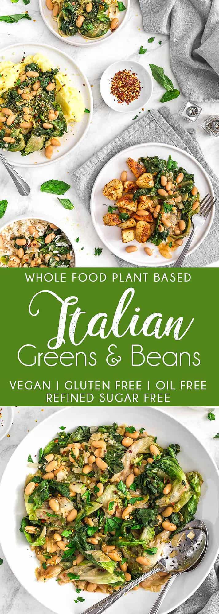 Italian Greens and Beans, greens, vegan greens recipe, plant based, vegan, vegetarian, whole food plant based, gluten free, recipe, wfpb, healthy, healthy vegan, oil free, no refined sugar, no oil, refined sugar free, dairy free, dinner, lunch, beans, legumes, greens, escarole, spinach, Swiss Chard