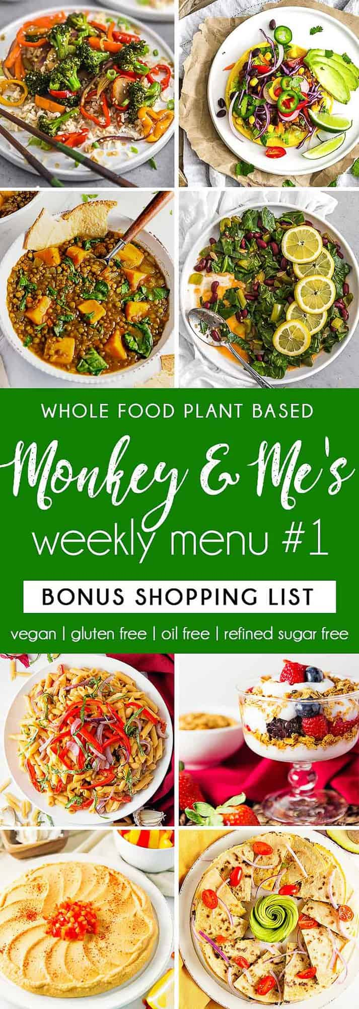 Monkey and Me's Menu, Menu 1, weekly recipe plan, menu, planner, plant based, vegan, vegetarian, whole food plant based, gluten free, recipe, wfpb, healthy, healthy vegan, oil free, no refined sugar, no oil, refined sugar free, dairy free, dinner, lunch, menu, plant based menu, vegan menu, weekly menu, meal plan, vegan meal plan, plant based meal plan, shopping list