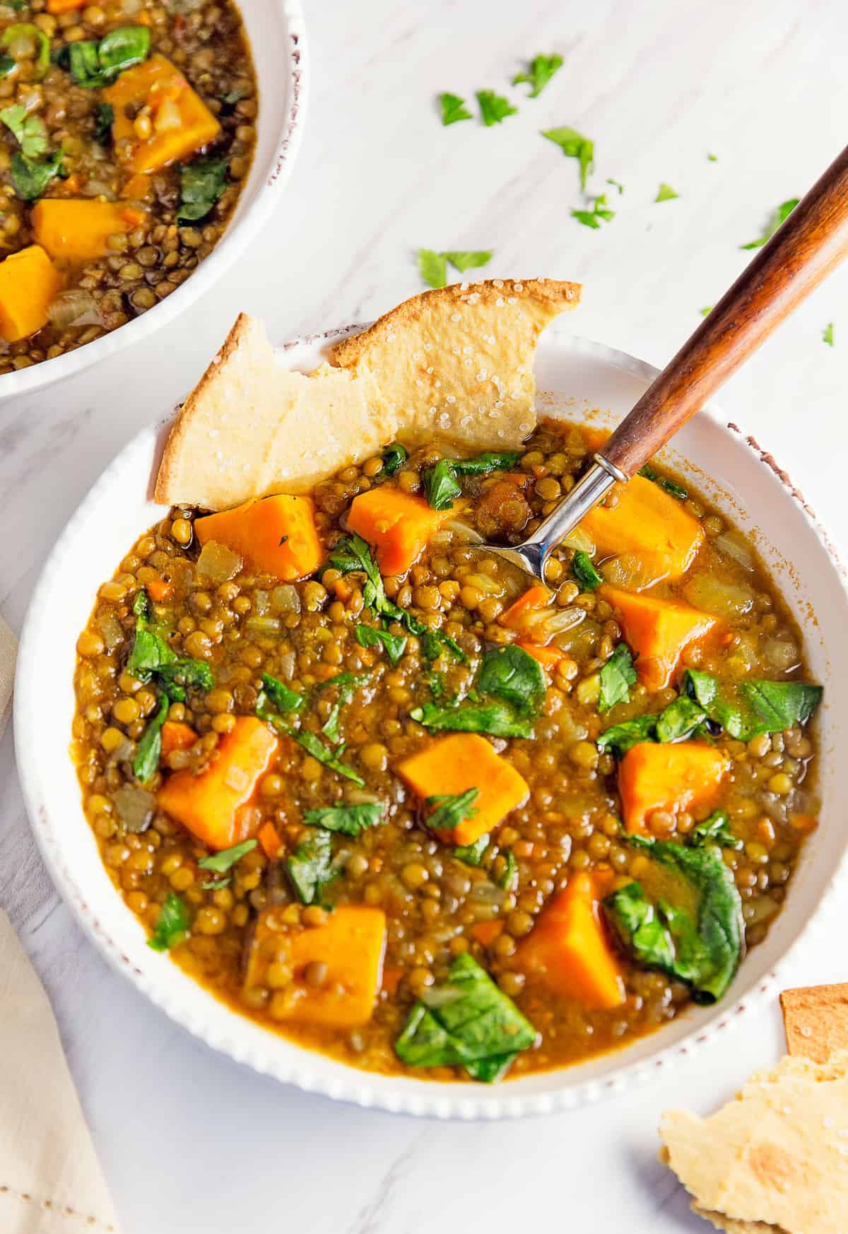 Moroccan Sweet Potato Lentil Stew, vegan, vegetarian, whole food plant based, gluten free, recipe, wfpb, healthy, oil free, no refined sugar, no oil, refined sugar free, dinner, side, side dish, dairy free, dinner party, entertaining, menu, plant based menu, vegan menu, weekly menu, meal plan, vegan meal plan, plant based meal plan