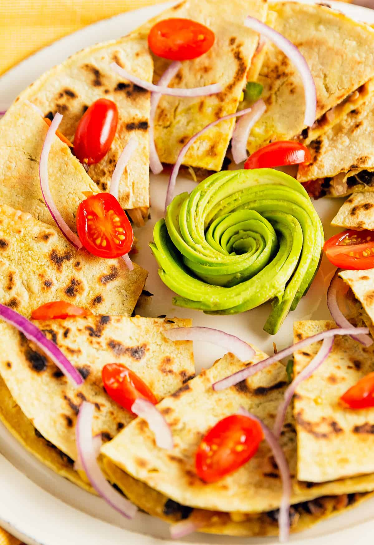 quesadilla, spicy black beans, vegan, vegetarian, whole food plant based, gluten free, recipe, wfpb, healthy, oil free, no refined sugar, no oil, refined sugar free, lunch, dinner, easy, fast, quick, dinner party, entertaining, Spanish rice, rice, black beans, green onions, tomatoes, avocado, quick dinner, fast dinner, dairy free, no dairy, Mexican, Southwestern, menu, plant based menu, vegan menu, weekly menu, meal plan, vegan meal plan, plant based meal plan