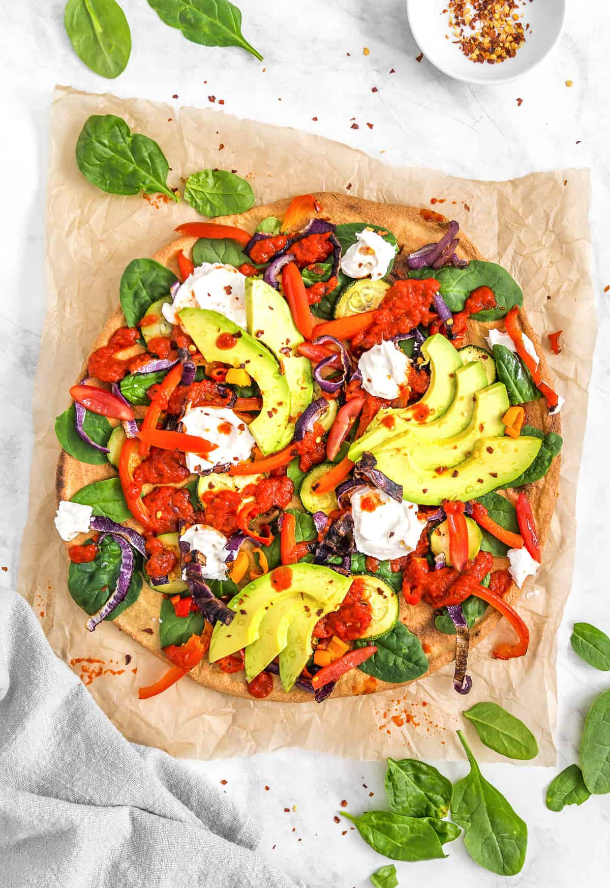 Roasted Veggie with Red Pepper Sauce Pizza, roasted vegetables, vegetables, red pepper sauce, pizza, plant based, vegan, vegetarian, whole food plant based, gluten free, recipe, wfpb, healthy, healthy vegan, oil free, no refined sugar, no oil, refined sugar free, dairy free, dinner, lunch, veggies, vegan pizza