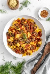 Vegan Sausage Ragu, vegan ragu, vegan sausage, plant based ragu, plant based, vegan, vegetarian, whole food plant based, gluten free, recipe, wfpb, healthy, healthy vegan, oil free, no refined sugar, no oil, refined sugar free, dairy free, dinner party, entertaining, dinner, pasta, pasta sauce, sauce, tomato sauce
