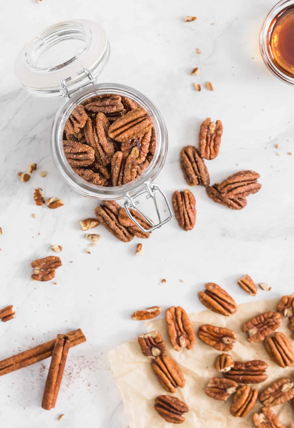 Cinnamon Maple Glazed Pecans, vegan snack, vegan appetizer, glazed pecans, pecans, nuts, plant based salad, plant based, vegan, vegetarian, whole food plant based, gluten free, recipe, wfpb, healthy, healthy vegan, oil free, no refined sugar, no oil, refined sugar free, dairy free, dairy, dinner, lunch, healthy recipe
