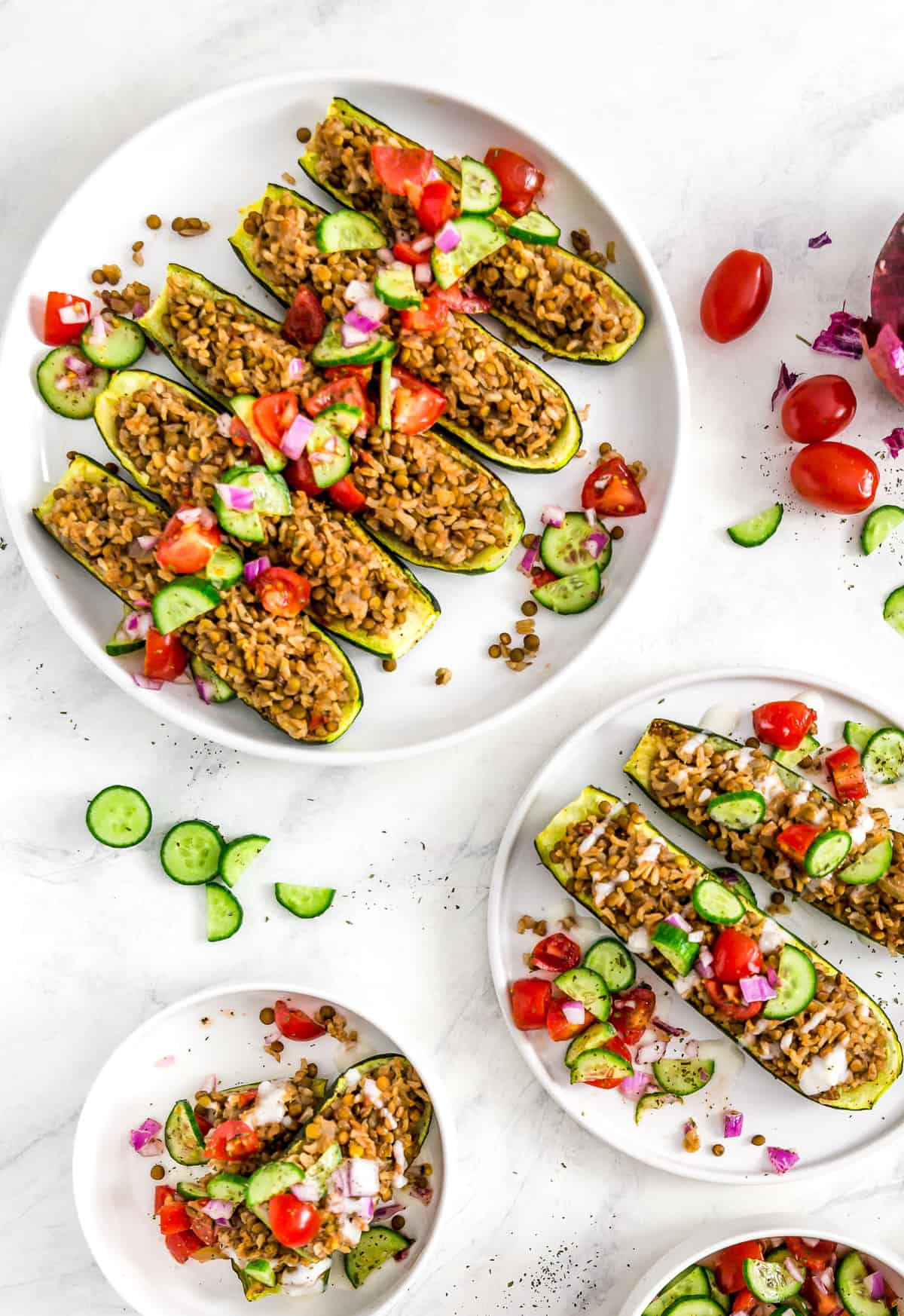 Middle Eastern Stuffed Zucchini Boats, Vegan zucchini boats, vegan dinner, zucchini, zucchini boats, Middle Eastern, Middle Eastern dinner, plant based dinner, plant based, vegan, vegetarian, whole food plant based, gluten free, recipe, wfpb, healthy, healthy vegan, oil free, no refined sugar, no oil, refined sugar free, dairy free, dairy, dinner, lunch, healthy recipe, vegan meal
