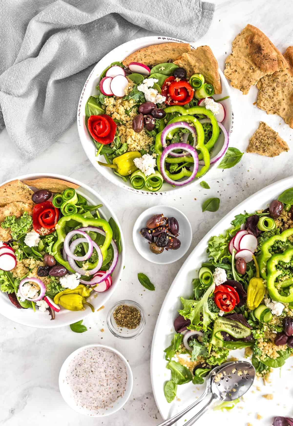 No Oil Greek Salad, Vegan salad, Greek salad, veggies, salad, plant based salad, plant based, vegan, vegetarian, whole food plant based, gluten free, recipe, wfpb, healthy, healthy vegan, oil free, no refined sugar, no oil, refined sugar free, dairy free, dairy, dinner, lunch, healthy recipe, Greek recipe, simple recipes